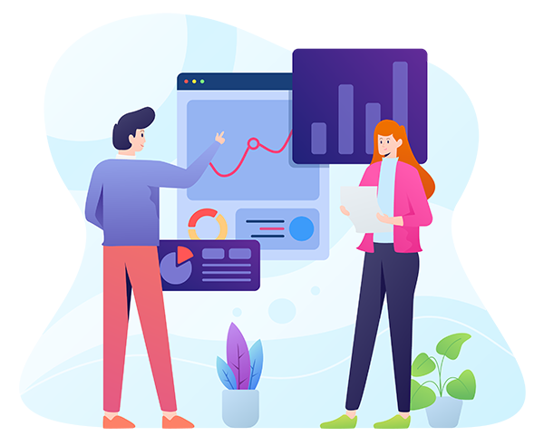 decorative illustration of business people looking at data